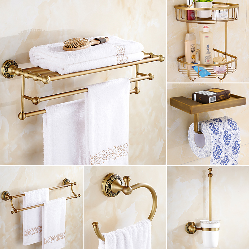 Antique Crown Base Copper Towel Rack Bathroom European-style Retro Bathroom Hardware Set YM-ki european luxury all copper and bronze towel ring towel hanging antique blue and white towel ring towel rack hanging round