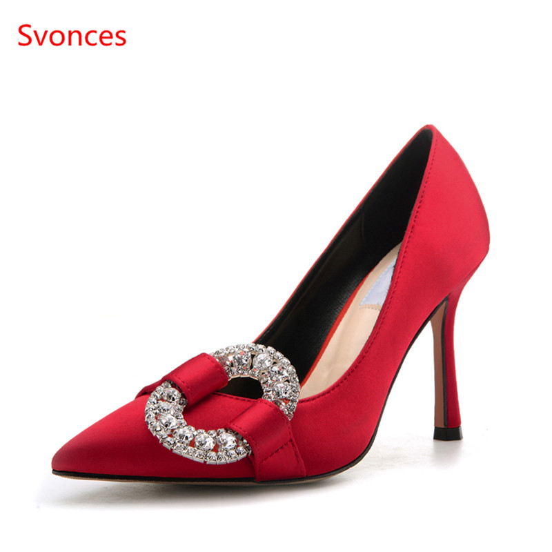 Detail Feedback Questions about Luxury Brand Svonces Women s Pumps Red  Point Toe Satin High Heels Woman Wedding Party Crystal Shoes Circle Buckle  Women ... f7aa18b967a2