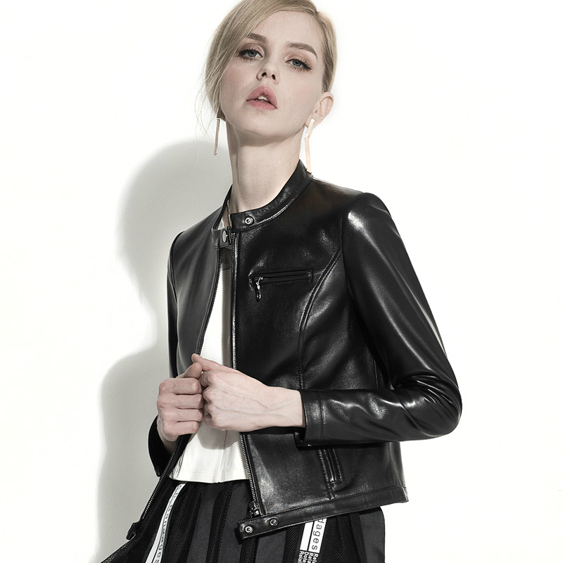 De Printemps Nouveau Mouton Manteau Cuir Peau Femme Nouvelle Vestes Femmes Moto Véritable Noir 2018 Mode Réel Veste F11342 En PqWAOx0