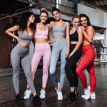 Energy Seamless Leggings+Strappy Bra 2Pcs Yoga Set Women High Waist Yoga Push-up Strappy Sports Leggings Set Running Sportswear strappy front sports bra