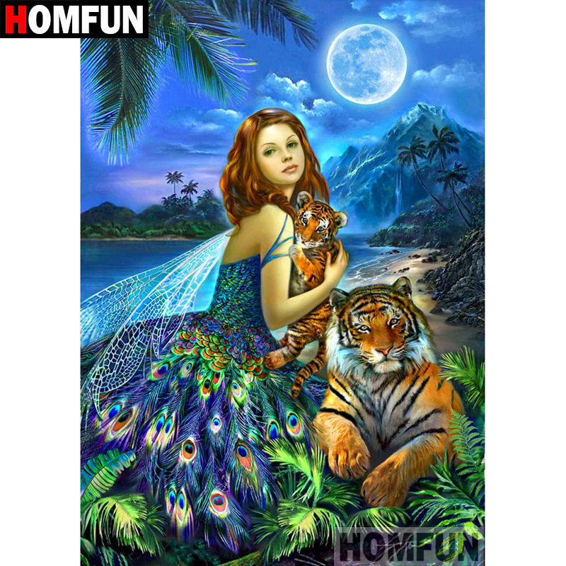 HOMFUN 5D DIY Diamond Painting Full Square Round Drill quot Girl tiger quot Embroidery Cross Stitch gift Home Decor Gift A09065 in Diamond Painting Cross Stitch from Home amp Garden