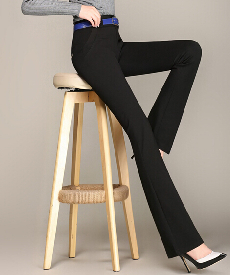 Flare pants for women plus size elastic high waist solid colour skinny pants autumn spring casual