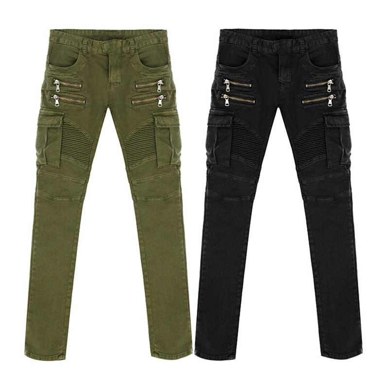 2016 New Mens Nightclubs army green Jeans, Fashion Designer many pocket Denim black Jeans Men,plus-size 28-38, casual jeans
