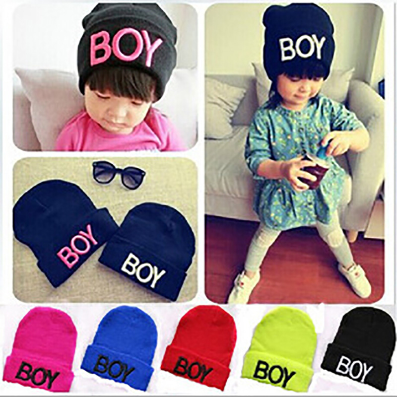 New Spring Autumn Baby Knitted Warm Cotton Beanie Hat For Toddler Baby Kids Girl Boy Letter embroidery Baby Hats