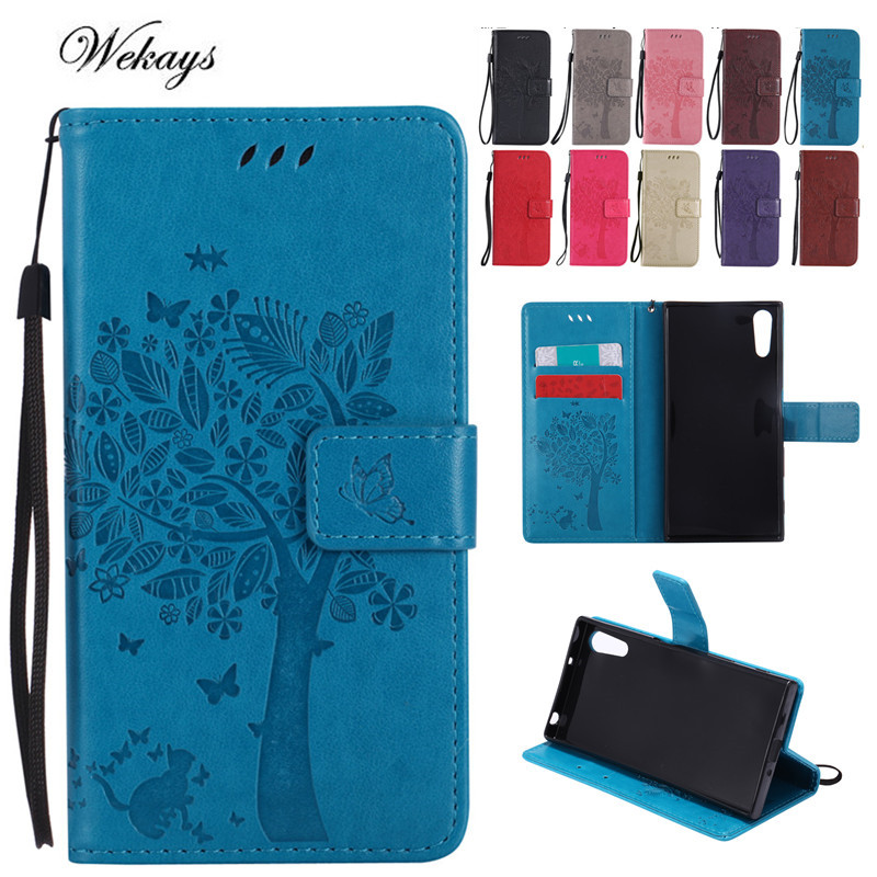 Wekays For Sony XZS XR 3D Cute Cartoon Tree and Cat Embossing Wallet Flip Fundas Case Fo ...