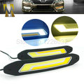 2 In 1 Flexible Car DRL Daytime Running Lights + Turning Lights LED COB Day Light DRL White Amber Turning Steering Signal Lamps