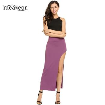 None Package High Elastic Waist Women Hip Full Long Pencil Skirt Asymmetric Backless 2