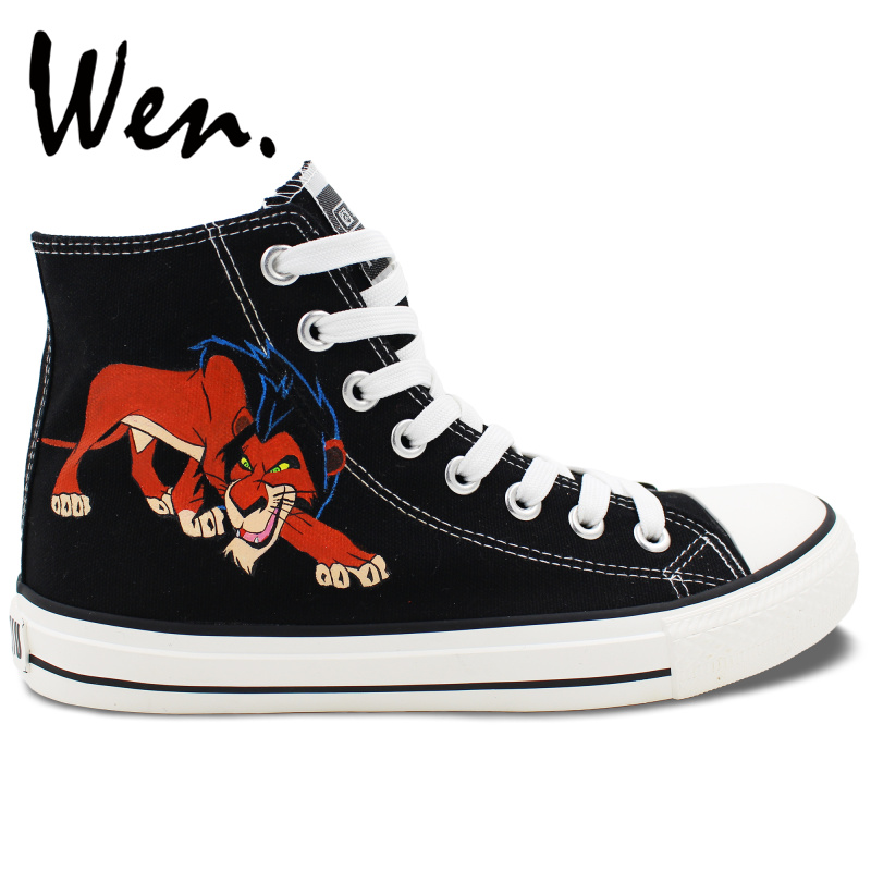 Prix pour Wen Hommes Femmes Peint À La Main de Chaussures Custom Design Animal Lion Noir High Top Hommes Femmes de Toile Sneakers