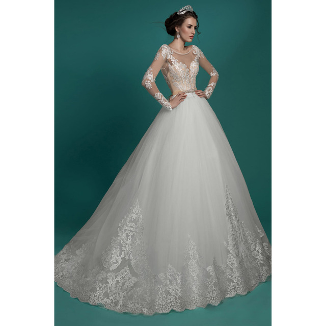 Princess Cut Wedding Dresses Long Sleeves Ball Gown Open Back Lace ...