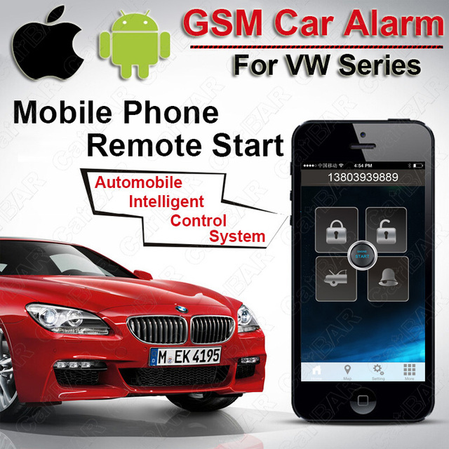 US $233 79 |IOS Android GPS GSM Car Alarm for VW Push Button Start Monitor  the Car Sounds Car Door Open Alarm Acousto optic Find Car CARBAR-in Burglar