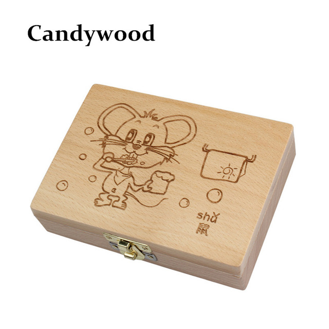 Candywood Baby Tooth Box Organizer for baby Save Milk Teeth Wood Storage Box 5,6,7,8 YEARS Teeth Box for baby kids Children