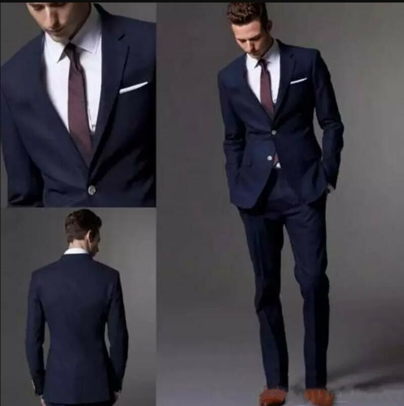 Dark Navy Blue 3Pcs Fashion Wedding Suits Two Button Slim Fit Custom 40 42 44 46
