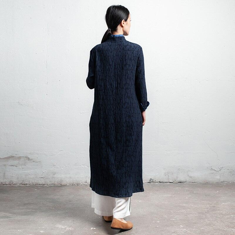 Original Manches Longues Bleu National Bouton Coton Chinois Robes Robe Femmes Marine Vintage Plaque Littéraire Vent UtEUqr