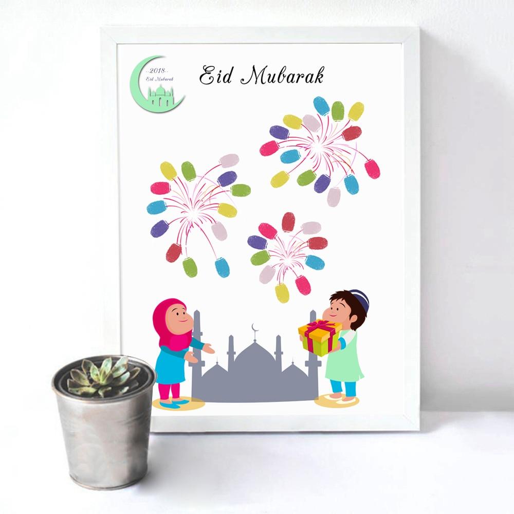 20 Wonderful Eid Mubarak Ideas: Creative Customizable DIY Fingerprint Signature Guest Book