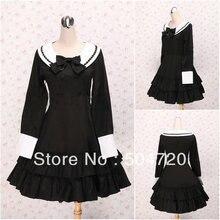 V-1121 Schwarz knie-länge langes sleave Cotton Gothic Lolita Kleid/viktorianischen kleid Cocktailkleid/halloween-kostüm US6-26 XS-6XL