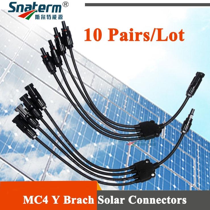 10 Pairs MC4 solar Panel Adaptor Cable connector 4 branch Y type five way plug Parallel