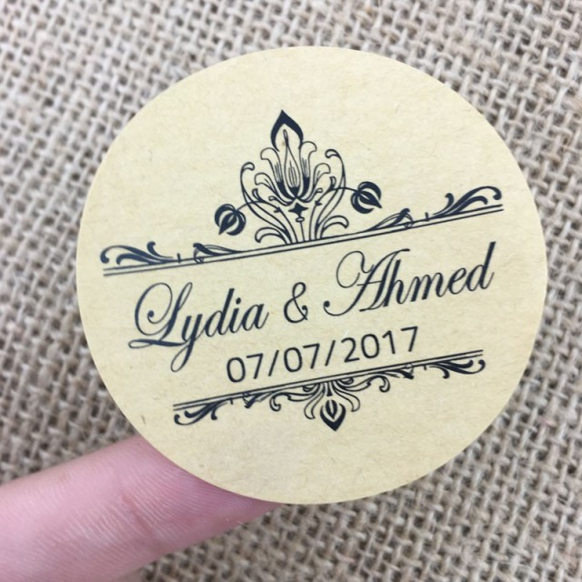 100 pcs custom personal wedding stickers party invitation decoration kraft paper free design clear round packaging
