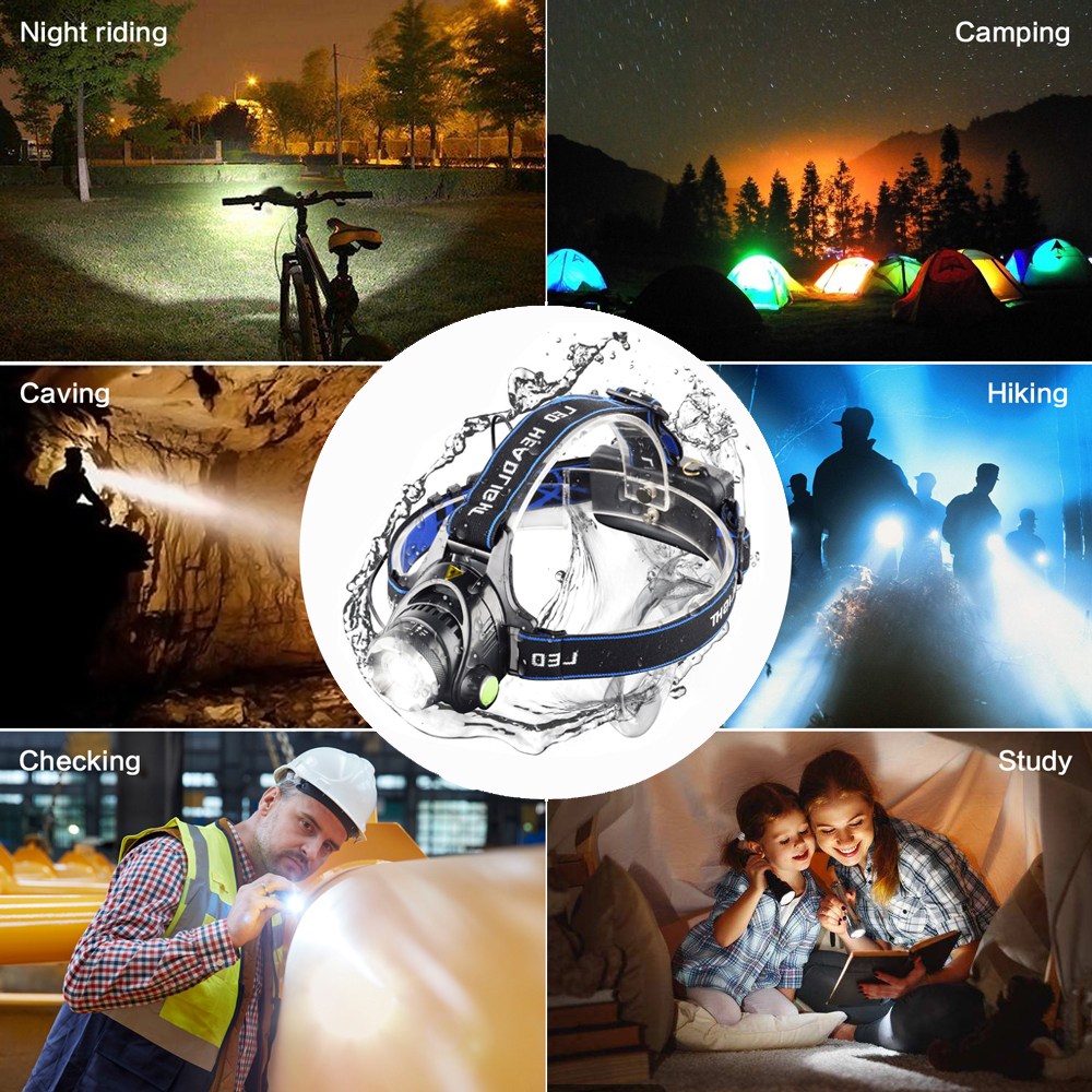 Most Powerful LED headlamp fishing headlight T6/L2/V6 3 modes Zoomable lamp Waterproof Head Torch flashlight Head lamp 18650 3