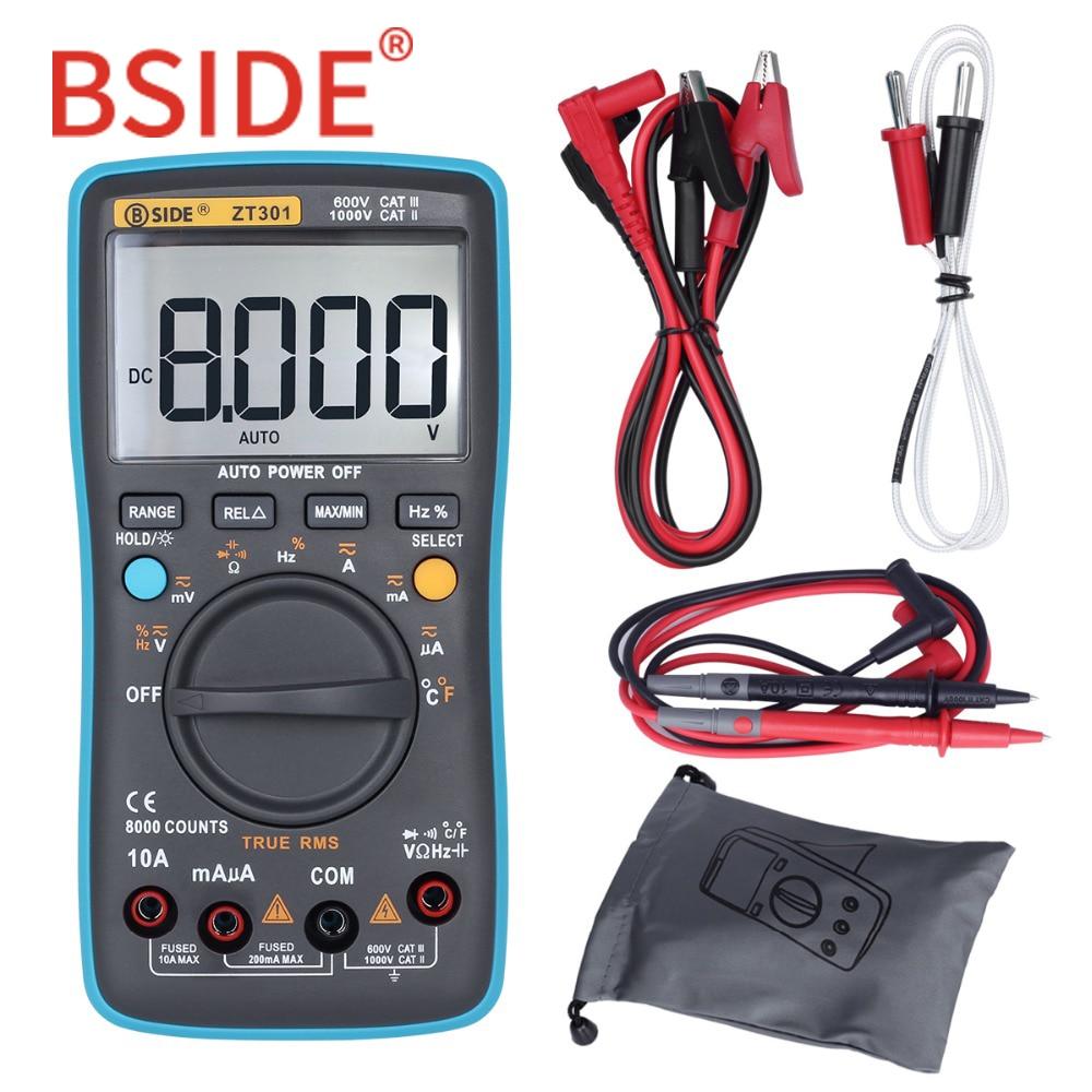 все цены на BSIDE ZT301 ZT302 True RMS Digital Multimeter 8000 9999 Counts Multifunction AC/DC Voltage Temperature Capacitance Tester DMM