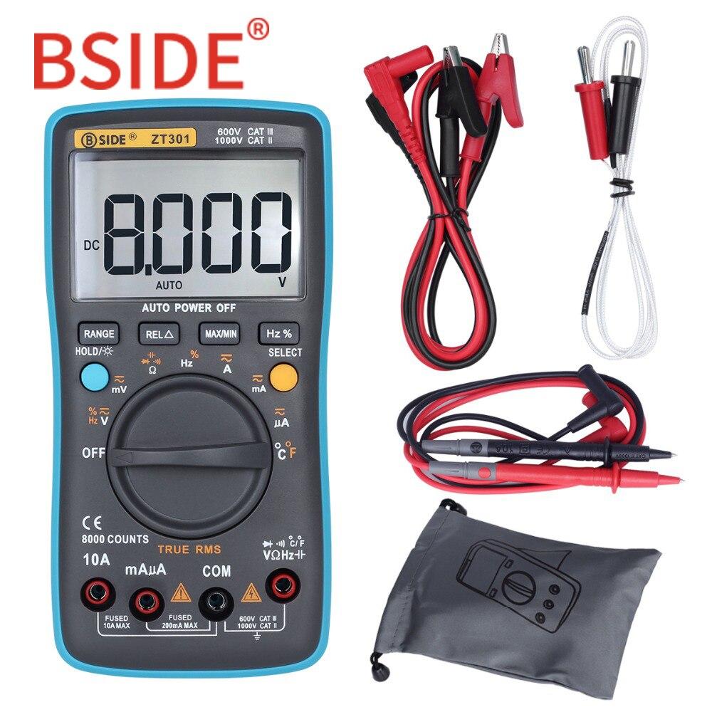 BSIDE ZT301 ZT302 multímetro Digital de verdadero valor eficaz (RMS) de 8000 de 9999 cuenta multifunción AC/tensión DC de capacitancia de temperatura de DMM