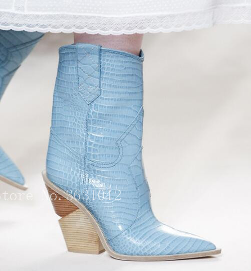 Pink-Blue-Genuine-Leather-Chunky-Heels-Wedges-Point-Toe-Western-Boots-Cowboy-Bootas-Women-Mid-calf