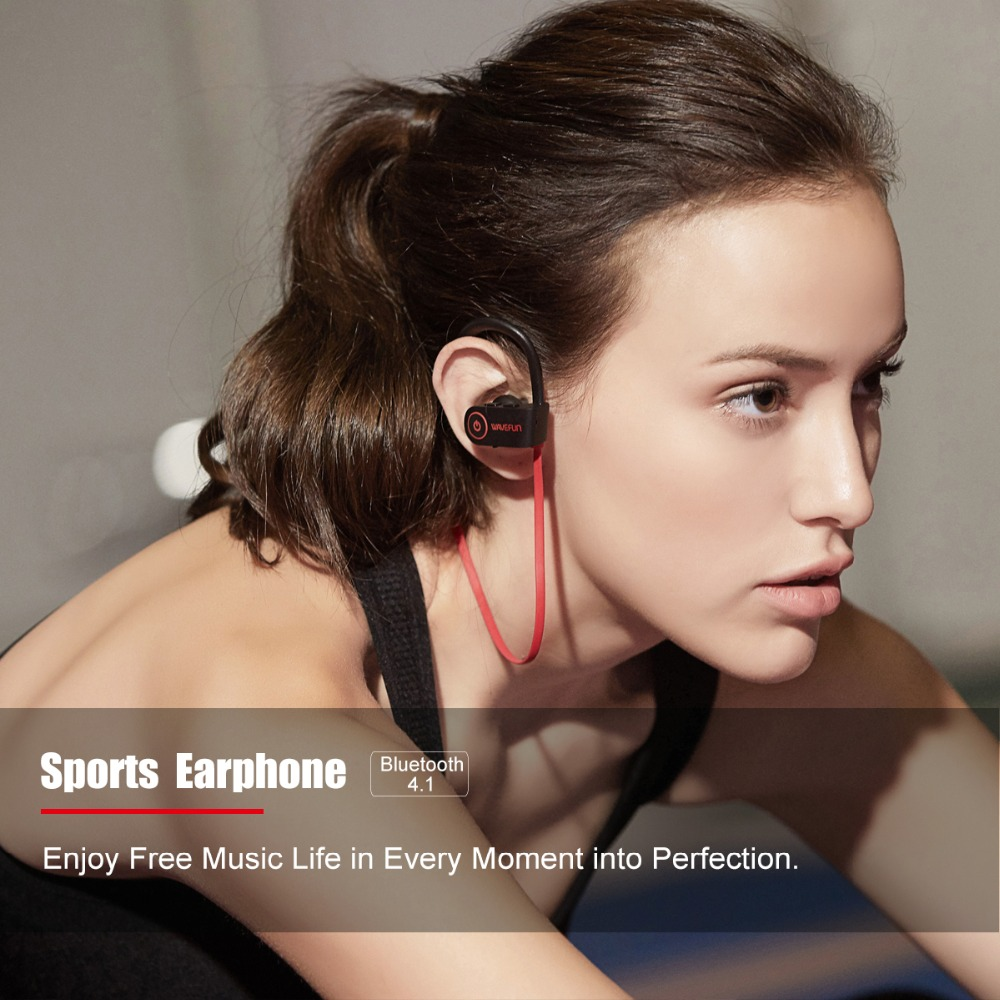 Wavefun bluetooth headphones IPX7 waterproof wireless headphone sports bass bluetooth earphone with mic for phone iPhone xiaomi 4