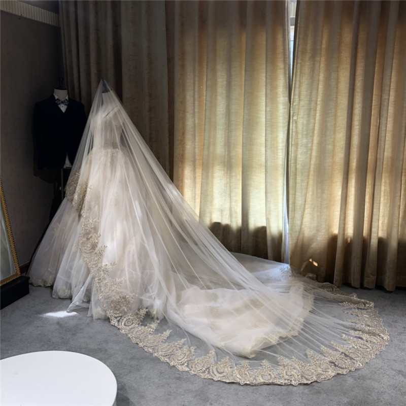 300cm,350cm,500cm Long Wedding Veil One Layer Bridal Veil No Comb Cathedral Veil In White, Ivory, Champagne