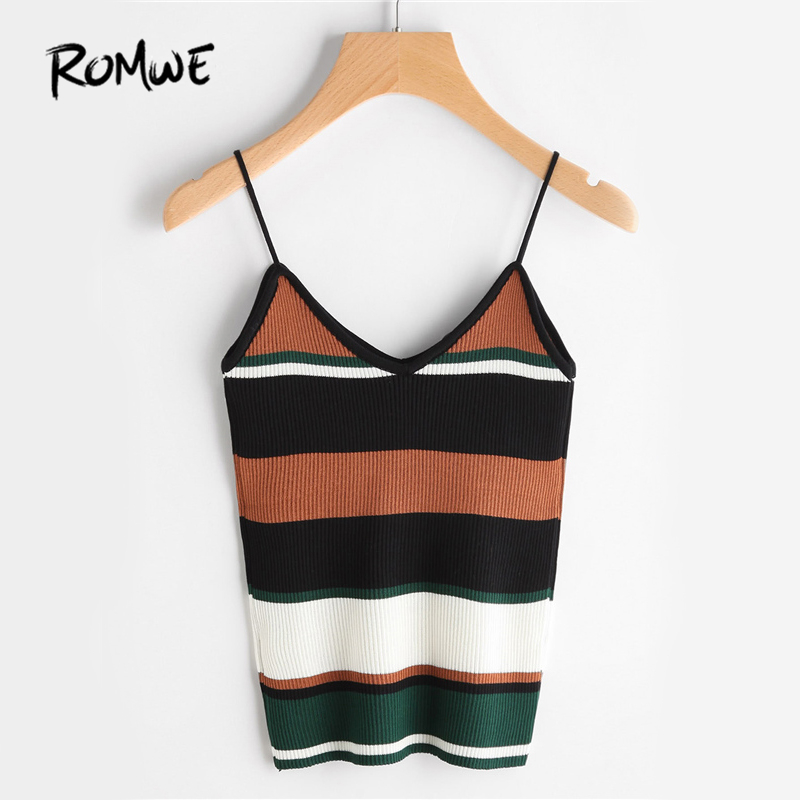 ROMWE Color Block Stripe Cami Top Casual Ribbed Camisole Women Sexy Strap Summer Tops 2017 Fashion Holiday Slim Basic Camisole