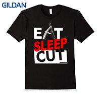 GILDAN Short Sleeves Cotton Fashion T Shirt Free Shipping Eat Sleep Cut Barber T Shirt