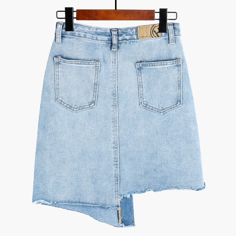 New 2019 Women Summer Denim Skirts Fashion High Waist Skirts Single Breasted Mini Jeans Skirt High Quality Blue Sexy Skirts in Skirts from Women 39 s Clothing