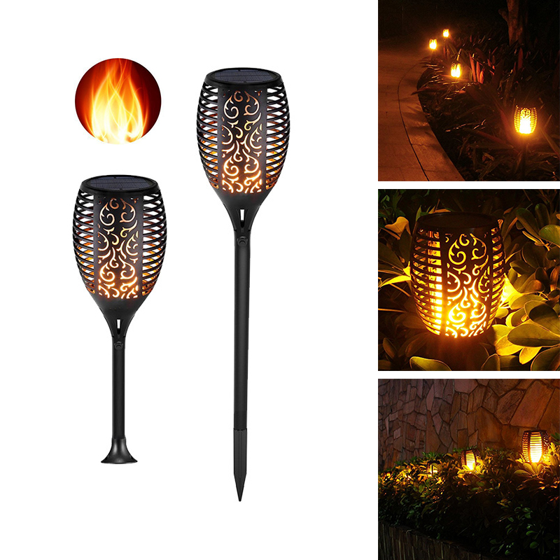 Led Landscape Lights Flickering: Upgraded Solar Powered LED Flame Lamp Waterproof Lawn