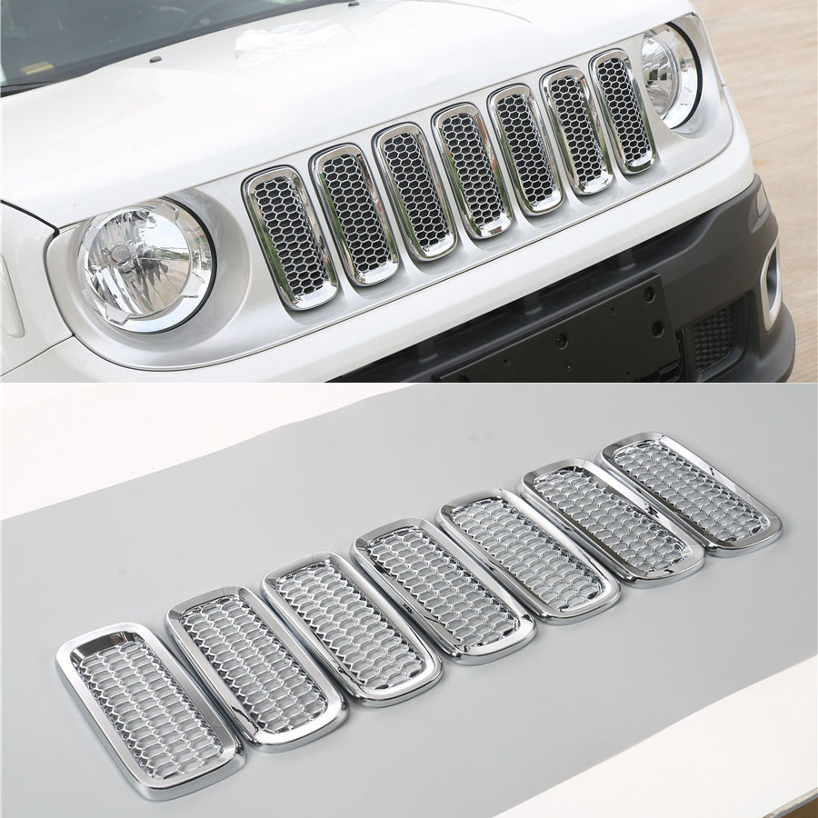 YAQUICKA For Jeep Renegade 2015 2016 ABS Exterior Car Styling Front Grille Grill Mesh Cover Trim Sticker 7Pcs/Set 6 Colors abs exterior decoration car body door side molding trim styling for jeep renegade 2015 up