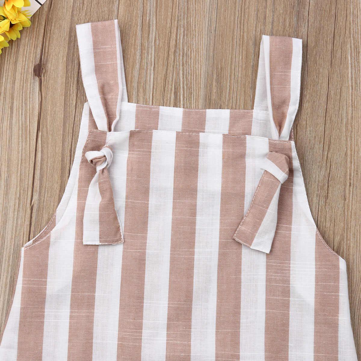 2019 เด็กฤดูร้อนเสื้อผ้า 1-6Y เด็กทารกเด็กผู้หญิงลาย A - Line Ruffled Bow Princess Casual กระเป๋า Sundress