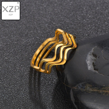 XZP Minimalist Matte Wave Rings Engagement Jewelry Ring Bague Femme Thumb for Women Wedding anillos mujer Gift