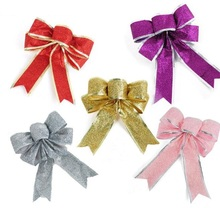 6pcs 20x20cm Glitter Powder Bow Pendant ornament For Christmas Party Tree Venun Hanging Decoration