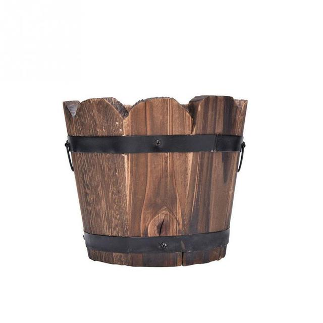New Small Wooden Cask Ornamental Retro Barrel Flower Pot Flower Planter for Wedding Home Balcony Garden Decoration 1PC