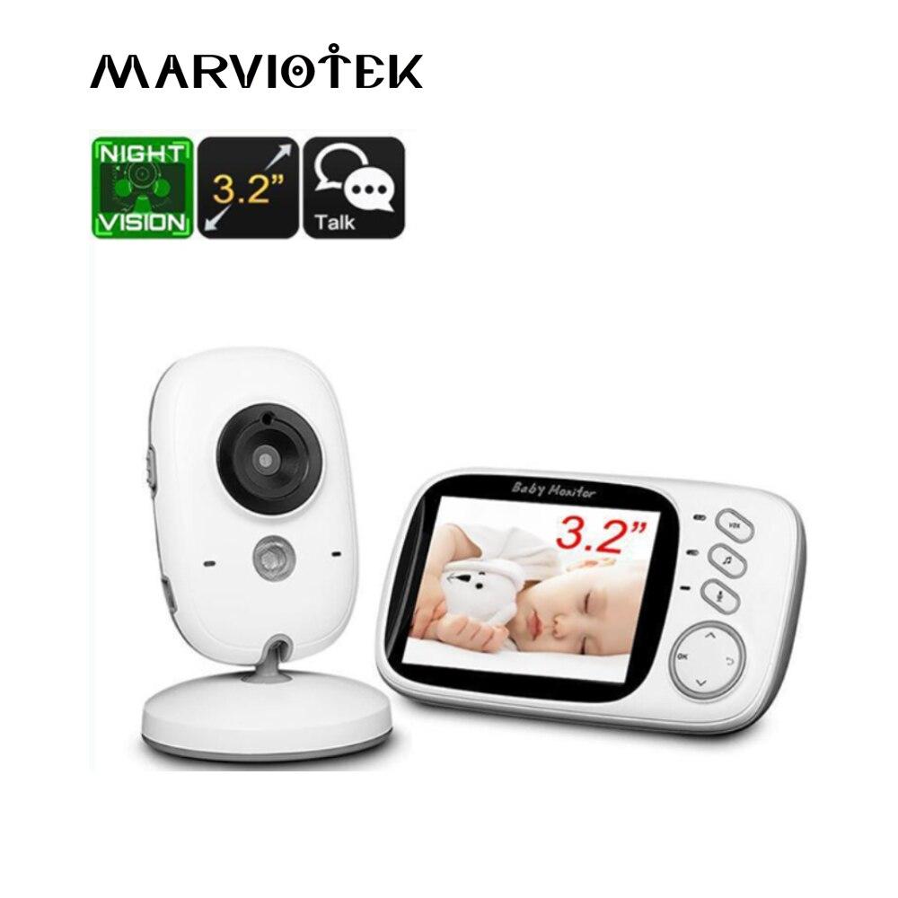 VB603 bebé Monitor LCD de 3,2 pulgadas de la visión nocturna IR 2 hablar 8 canciones de cuna monitor de temperatura video niñera radio niñera