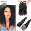 Indian Curly Virgin Hair With Closure Deep Wave Hair With Closure Curly Weave Human Hair With Closure 3 Bundles With Closure