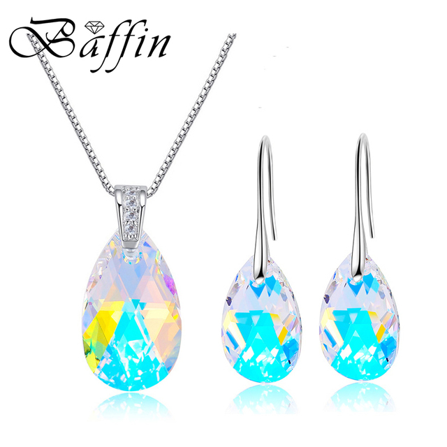 BAFFIN Water Drop Jewelry Set Crystal From SWAROVSKI White Gold Color Pendant Necklace  Dangle Earrings For Women Wedding
