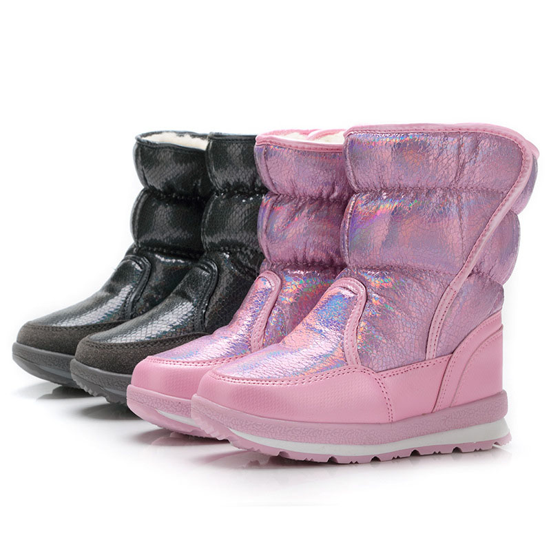 2017 Kids Snow Boots Winter Warm Boots Thick Bottom Platform Waterproof Ankle Boots For Women Thick Sheep Fur Girls shoes 2016 new winter kids snow boots children warm thick waterproof martin boots girls boys fashion soft buckle shoes baby snow boots