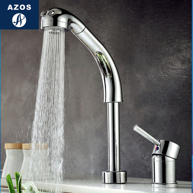 Kitchen Sink Faucets Lift Rotatable Pull Out Hose Spray Head Chrome Polish Silver Single Handle Deck Mount CLCF007