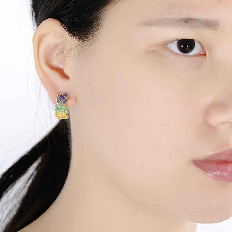 SANTUZZA Schmuck Set Für Frau 925 Sterling Silber HANDGEMACHTE Bunte Emaille Blume Weiß CZ Ring Ohrringe Set Mode Schmuck