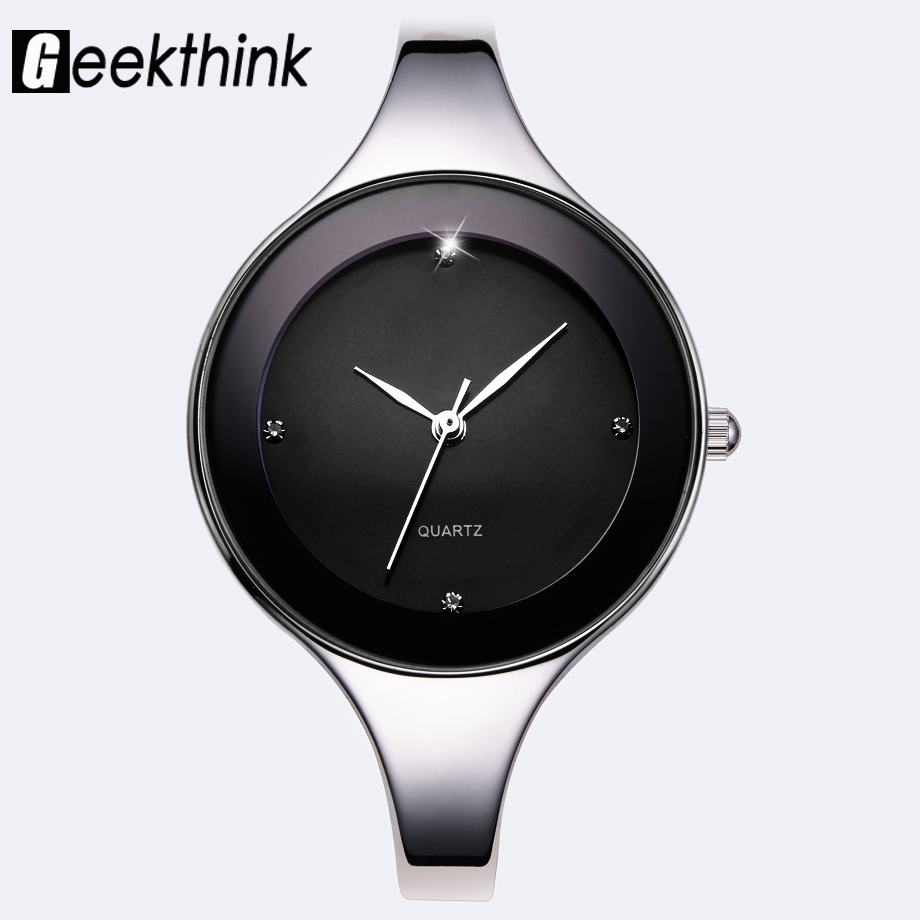 GEEKTHINK Luxury Brand Fashion Quartz Watch Women Ladies Rostfritt Stål Armband Klocka Kvinnlig Klänning Present