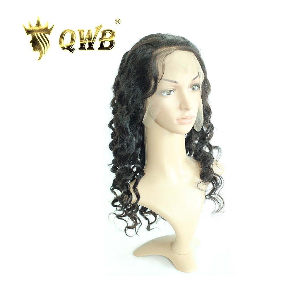 QUEEN WEAVE BEAUTY Free Shipping Loose Wave 13X5 Deep Parted Lace Front Virgin Hair Wigs 12