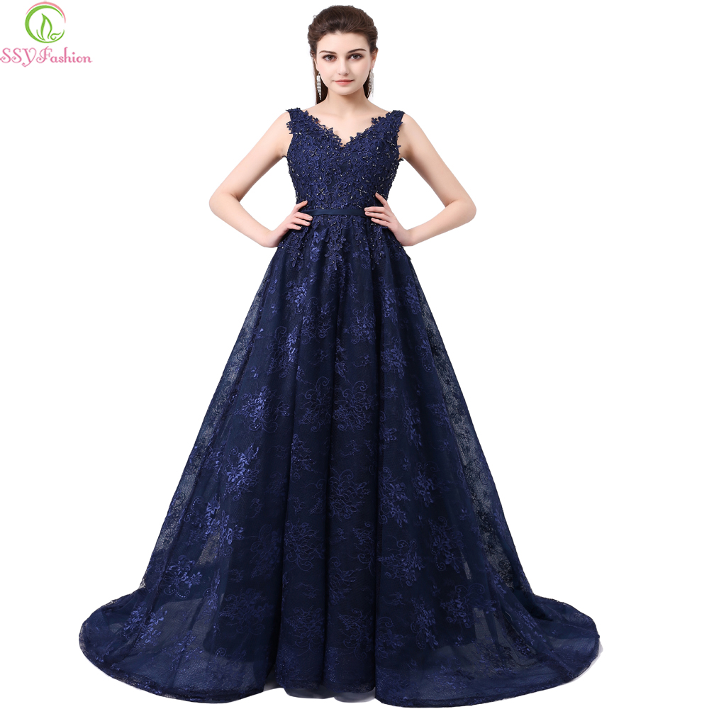 SSYFashion Dinner Party   Evening     Dress   Style The Bride Elegant Lace V-neck Backless Sweep Train Long Prom   Dresses   Custom