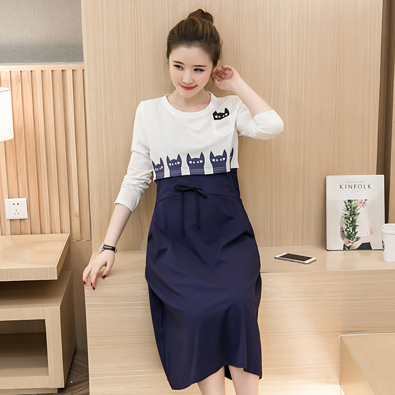 Maternity Dress for Pregnant Women Breast Feeding Dresses Nursing Clothes Spring Solid Long Sleeve Dress Maternity Clothing