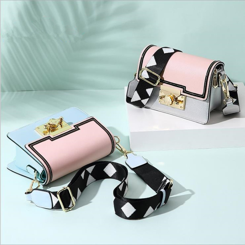 2018 NWE Fashion Japan and South Korea popular Hit color small square bag ins one shoulder slung shop PU Material handbag d1022 hit makers how things become popular