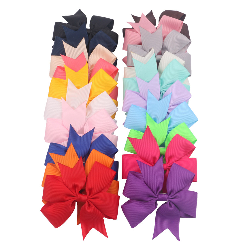(20pcs/lot) High Quality 3 Inch Grosgrain Ribbon Boutique Bow With Clip Hairpins For Kids Girl Hair Accessories Fashion Headwear