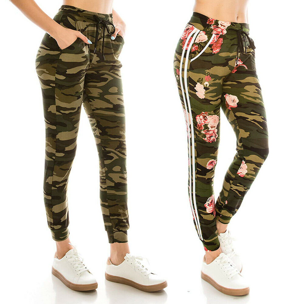 Women Camouflage Joggers Tracksuit Bottoms Trousers Ladies Casual Gym Jogging Sports Drawstring High Waist Pants New