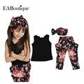 Eaboutique estilo verão meninas floral moda casual suit roupa das crianças set roupa sem mangas + headband novas roupas de crianças definidas